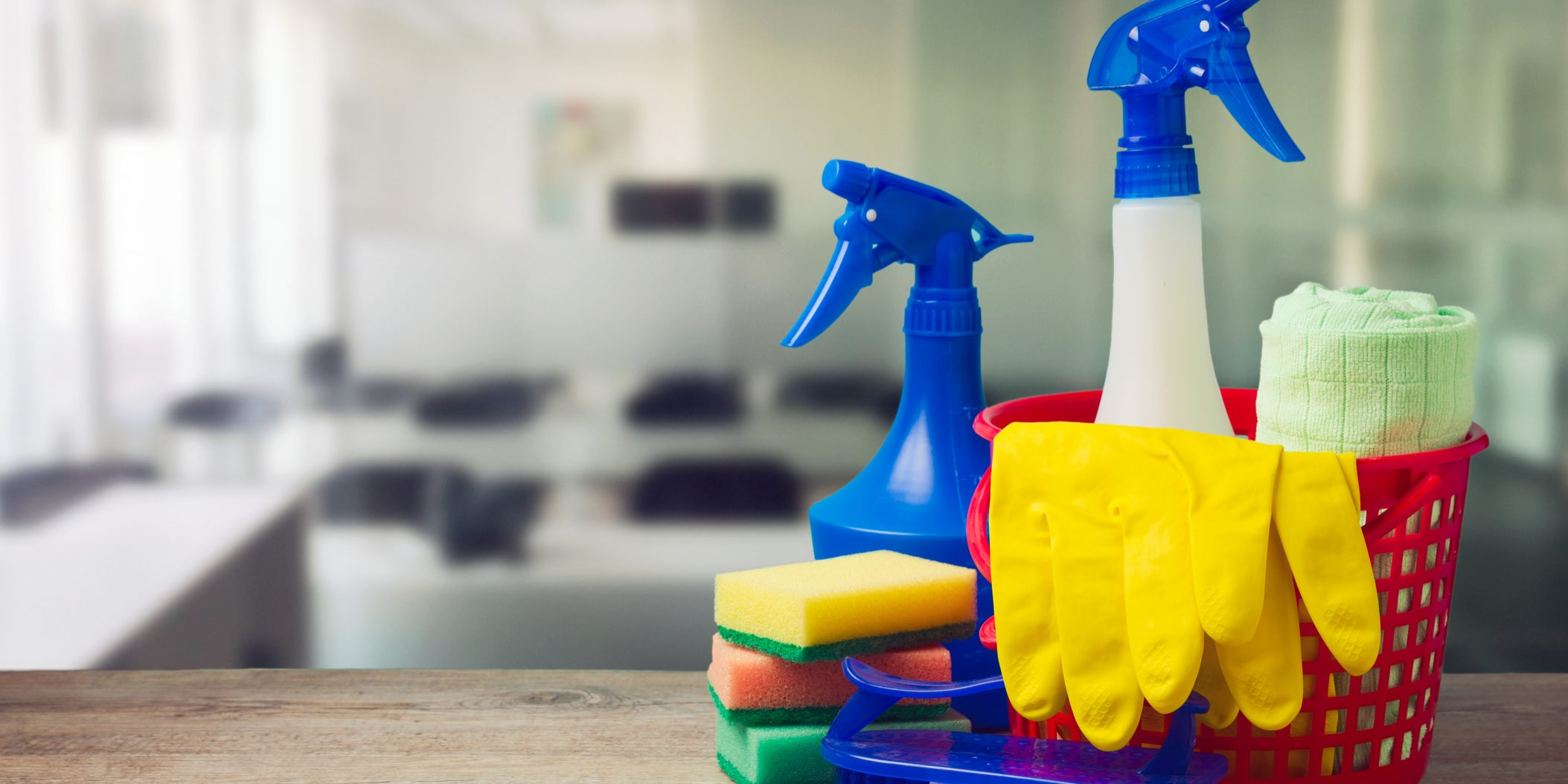 Cleaning Equipment rubber gloves and spray
